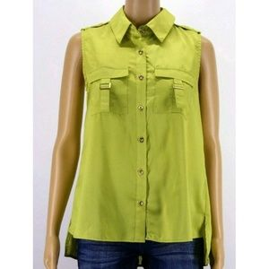 Color Fx Womens Top Blouse Shirt Green Olive